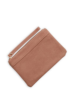 Perforated Faux Leather Wristlet - 3126067440746