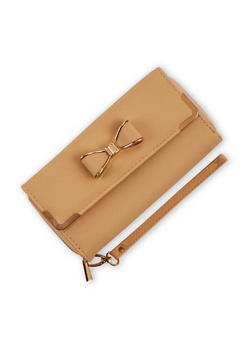 Faux Leather Bow Wallet with Wrist Strap - 3126067441216