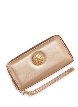 Zip Around Wallet with Metallic Medallion - 3126067442007