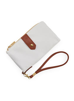 Two Toned Faux Leather Foldover Wristlet - 3126067444907