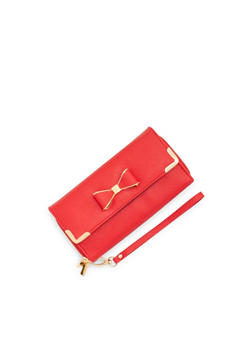 Grain Faux Leather Wristlet with Bow Accent - 3126067445213