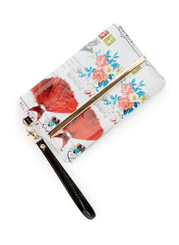 Patent Faux Leather Printed Wristlet - 3126067445408