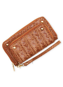 Wristlet in Braided Faux Leather - 3126067446031