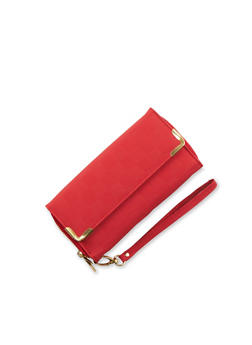Flap Wristlet with Two Zipper Compartments - 3126067446099