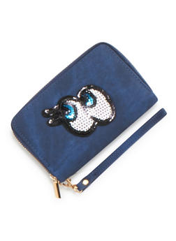Zip Wallet with Sequin Eyes Patch - 3126067446190
