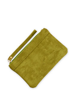 Faux Suede Perforated Wristlet - 3126067446407