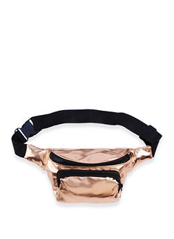 Faux Leather Double Zip Fanny Pack - 3126067447001