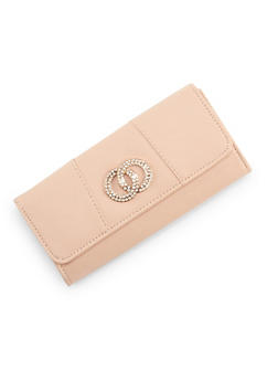 Faux Leather Flap Wallet with Rhinestone Accent - 3126067447027