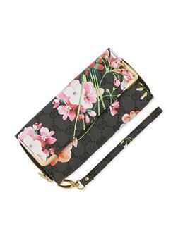 Flap Opening Floral Print Zip Around Wallet - 3126067447029