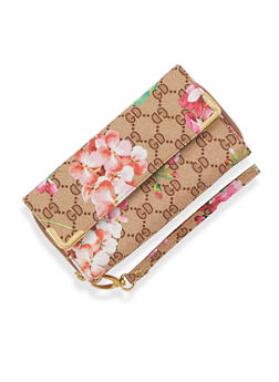 Flap Opening Floral Print Zip Around Wallet - 3126067447029