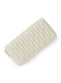 Faux Leather Zip Quilted Wallet - 3126067447040