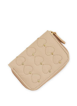 Faux Leather Studded Heart Mini Wallet - 3126067447048