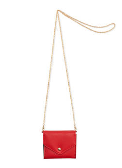 Mini Faux Leather Crossbody Bag with Chain Link Strap - 3126067447051