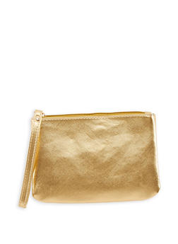 Solid Faux Leather Wristlet - 3126067447053