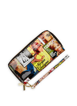 Magazine Print Double Zip Wallet - 3126067447056