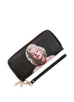 Faux Leather Marilyn Monroe Double Zip Wallet - 3126067447057