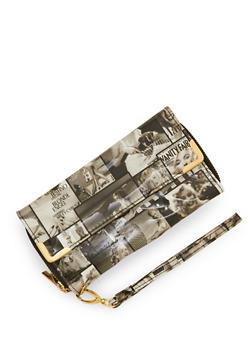 Magazine Print Double Zip Wallet with Flap - 3126067447059