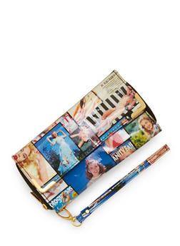 Magazine Print Double Zip Wallet with Flap - 3126067447059