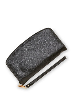 Textured Zip Wallet with Wrist Strap - 3126067447064