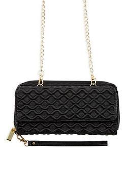 Faux Leather Textured Zip Around Wallet - 3126067447065
