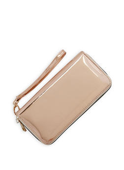 Faux Patent Leather Double Zip Around Wallet - 3126067447069