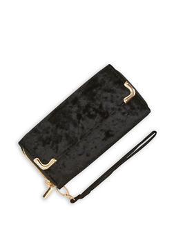 Crushed Velvet Zip Around Wallet with Flap - 3126067447070