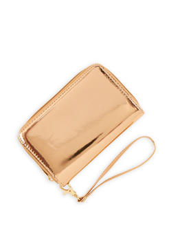 Faux Patent Leather Zip Around Wristlet - 3126067447071
