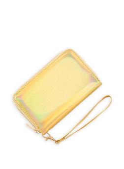 Faux Patent Leather Zip Around Wristlet - 3126067447071