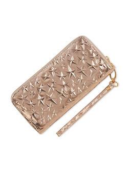 Metallic Stars Zip Around Wallet - 3126067447072
