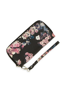 Floral Print Zip Around Wallet - 3126067447074