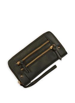 Faux Leather Zip Around Wallet Wristlet - 3126067447100
