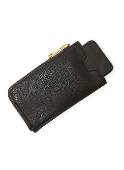 Faux Leather Zip Cell Phone Wallet - 3126067447407