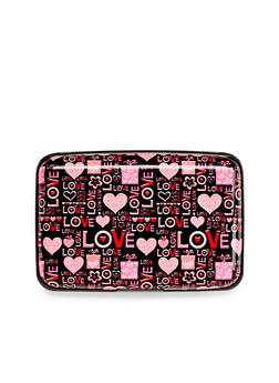 Card Holder Wallet with Love and Heart Print - 3126067448146