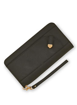Faux Leather Zip Around Wristlet Wallet - 3126073401036
