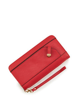 Faux Leather Zip Around Wristlet Wallet - 3126073401036