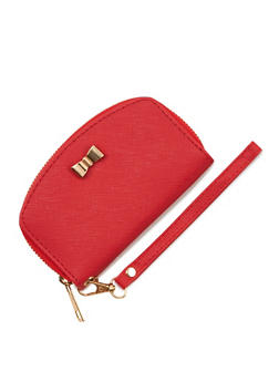 Small Bow Faux Leather Zip Around Wristlet - 3126073408130