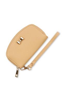 Small Bow Faux Leather Zip Around Wristlet - 3126073408130