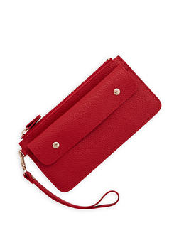 Pebbled Faux Leather Clutch - 3126074390314