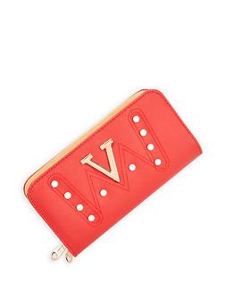 Faux Pearl Studded Double Zip Wallet - 3126074394490