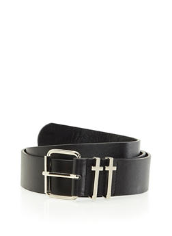 Faux Leather Belt with Cross Fastening Loops - 3128041650204