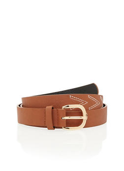 Plus Size Faux Leather Belt with V Stitching - 3128041650760