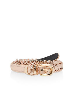 Braided Faux Leather Belt - 3128041651509
