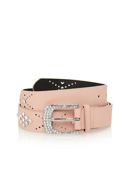 Plus Size Faux Leather Belt with Crystal Accents - 3128041652419