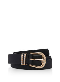 Plus Size Rhinestone Buckle Faux Leather Belt - 3128041652440
