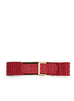 Smocked Waist Faux Leather Belt - 3128041652556