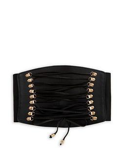 Faux Leather Lace Up Waist Belt - 3128041652588