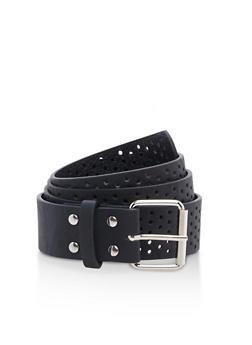 Plus Size Lasercut Faux Leather Belt - 3128041653516