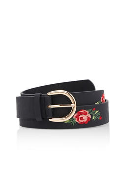 Plus Size Rose Embroidered Belt - 3128041654406