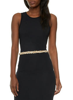Waist Belt in Braided Faux Pearl and Mesh - 3128041654605