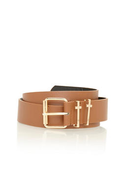 Faux Leather Belt with Metallic Cross Loops - 3128041654720